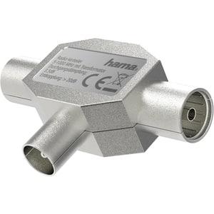 Splitter antena Coaxial Plug - 2 Coaxial Sockets HAMA 205237, argintiu