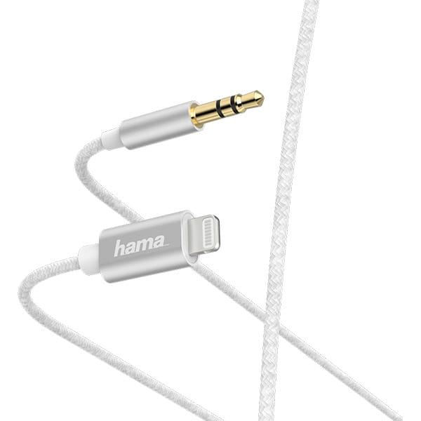 Cablu audio HAMA 187211, Jack 3.5mm - Lightning, 1m, alb
