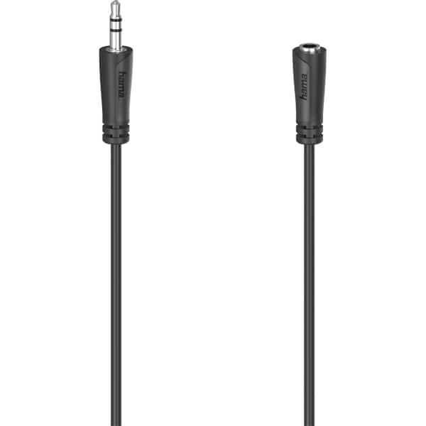 Cablu audio extensie Jack 3.5mm HAMA 205121, 5m, negru