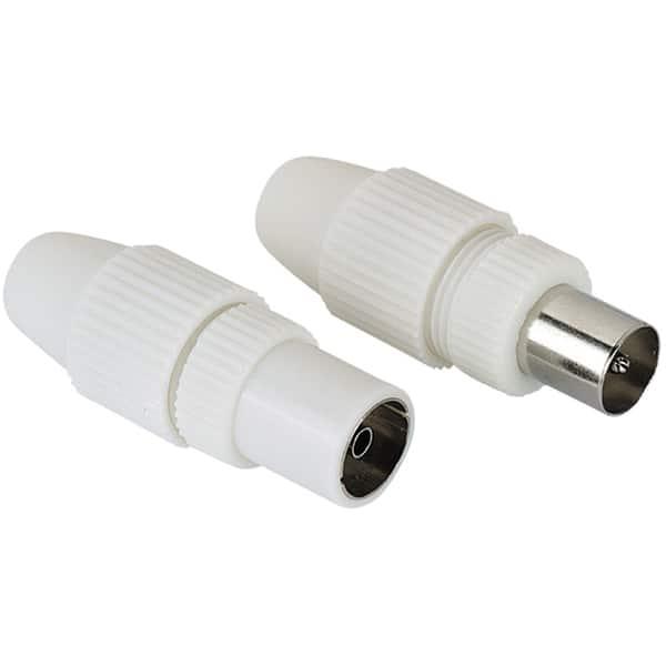 Conectori antena Coaxial Stecker - Priza HAMA 205212, 2 bucati, alb
