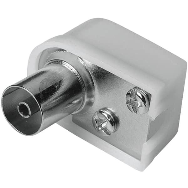 Mufa antena Coaxial Stecher HAMA 205217, 90 grade, argintiu