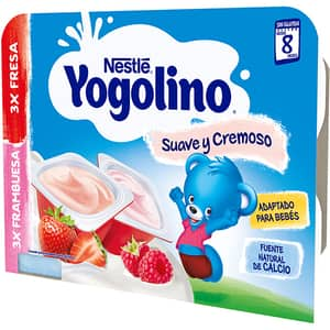 Gustare cu lapte NESTLE Yogolino Creamy Duo cu capsune si zmeura 12422780, 6 luni+, 6 x 60g