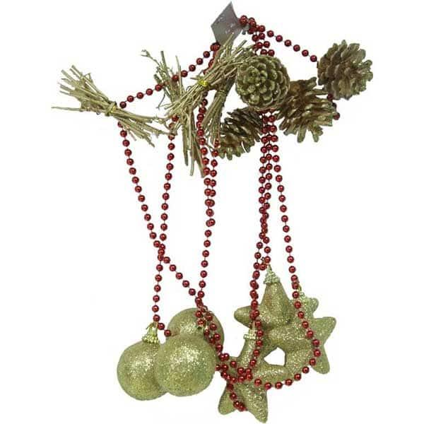 Sirag de margele decorative BRAZIDELUX Star & Pine Con, L 200 cm, rosu-auriu