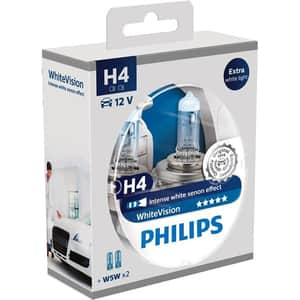 Set 2 becuri auto H4 PHILIPS White Vision 55W