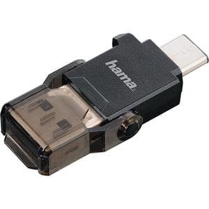 Cititor de carduri HAMA 124021, USB 3.1 Type C + USB 3.0 Type A, microSD, negru