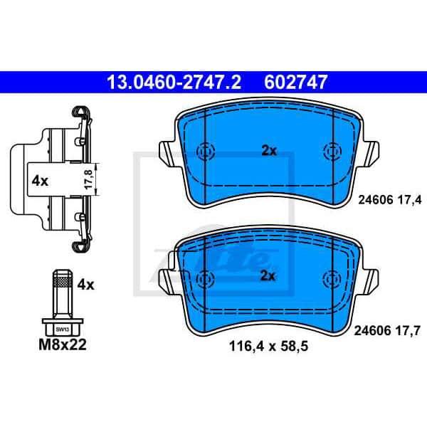 Placute frana spate ATE 13046027472, Audi
