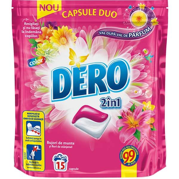 Detergent DERO Duo Caps Bujor de munte, 15 capsule, 15 spalari