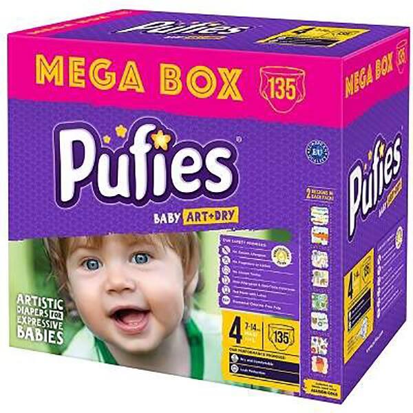 Scutece PUFIES Baby Art & Dry Mega Box Maxi nr 4, Unisex, 7 - 14 kg, 135 buc
