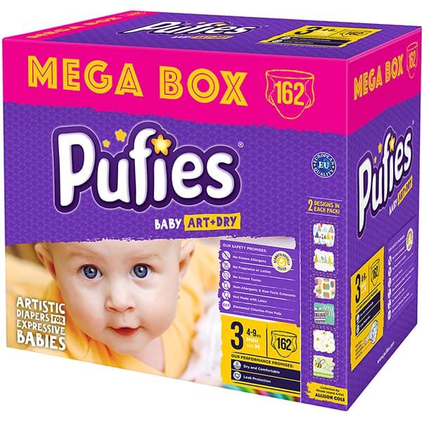 Scutece PUFIES Baby Art & Dry Mega Box Midi nr 3, Unisex, 4 - 9 kg, 162 buc