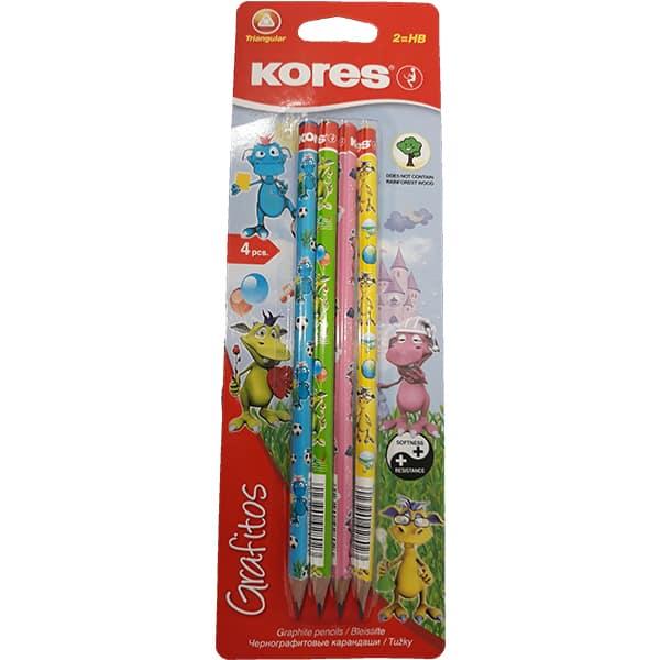 Set 4 creioane grafit KORES Fantasy Dragons, diverse culori