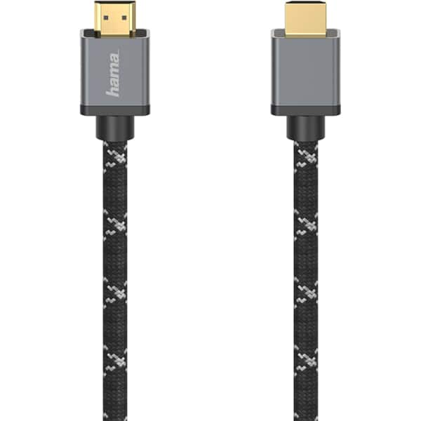 Cablu HDMI HAMA 205239, 2m, 8K HDR, placat aur, negru-gri