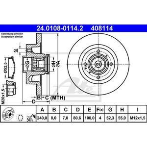 Disc frana spate STG/DR ATE 24010801142, Renault