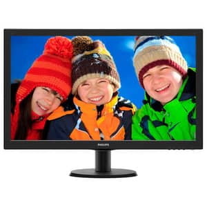 "Monitor LED TN PHILIPS 243V5LHSB, 23.6"", Full HD, 60Hz, negru"