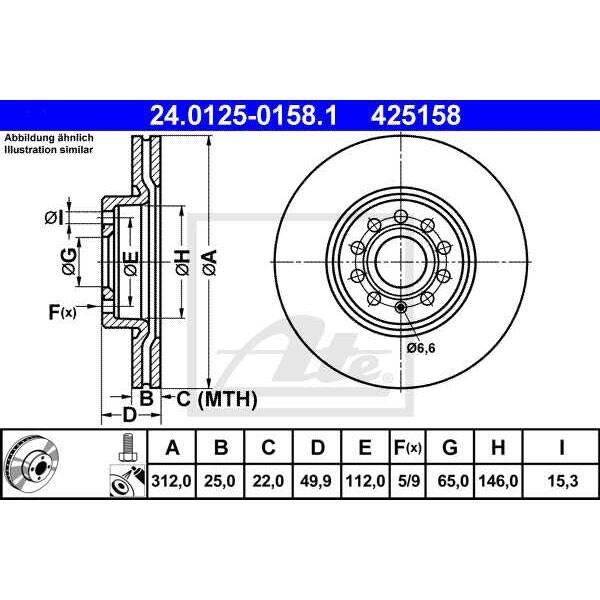 Disc frana fata STG/DR ATE 24012501581, VW, Skoda