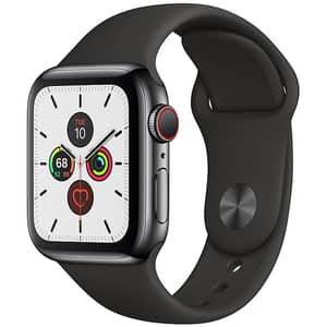 APPLE Watch Series 5 GPS + Cellular, 40mm Space Black Stainless Steel Case, Black Sport Band
