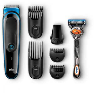 Kit de ingrijire multifunctional BRAUN MGK3045, complet lavabil, acumulator, negru-bleu