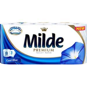 Hartie igienica MILDE Cool Blue, 3 straturi, 8 role
