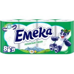 Hartie igienica EMEKA Mount Fresh, 3 straturi, 8 role