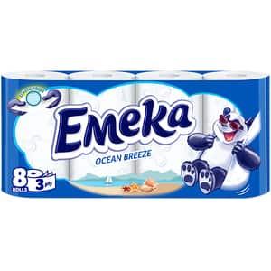 Hartie igienica EMEKA Ocean Breeze, 3 straturi, 8 role