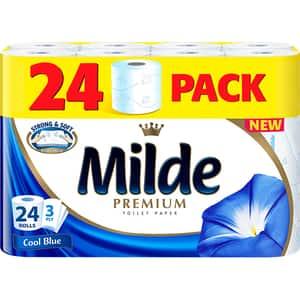 Hartie igienica MILDE Cool Blue, 3 straturi, 24 role