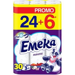 Hartie igienica EMEKA Paradise, 3 straturi, 30 role