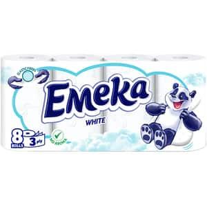 Hartie igienica EMEKA White, 3 straturi, 8 role