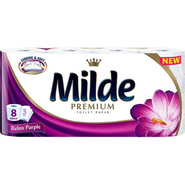 Hartie igienica MILDE Relax Purple, 3 straturi, 8 role