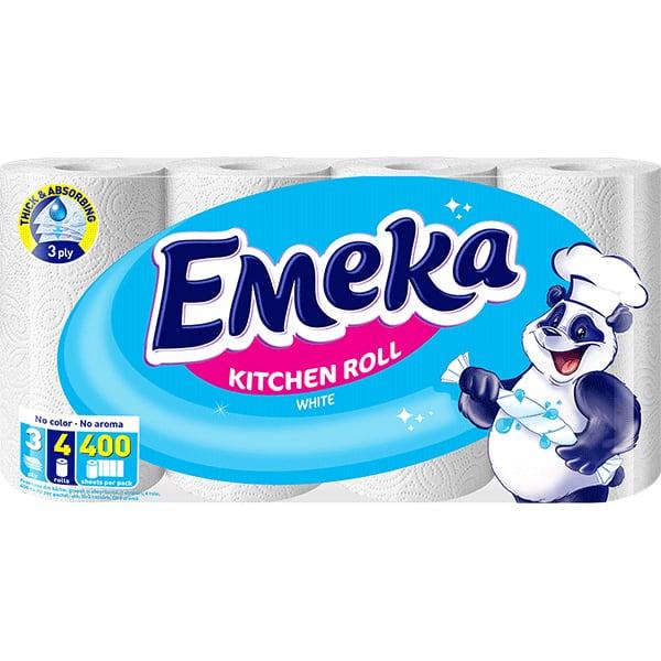 Prosoape de hartie EMEKA White, 3 straturi, 4 role