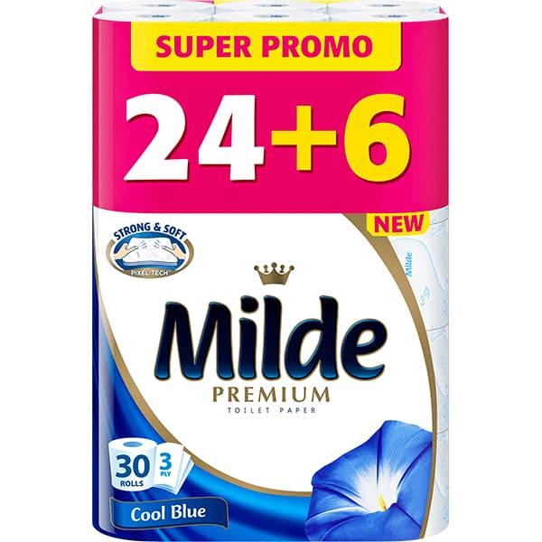 Hartie igienica MILDE Cool Blue, 3 straturi, 30 role