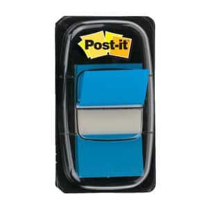 Index 3M Post-it Clasic, 25.4 x 43.2 mm, hartie, plastic, 50 foite, albastru