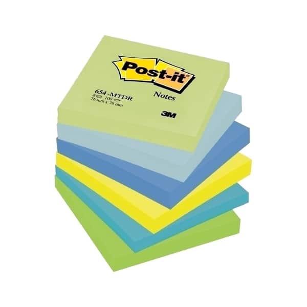 Set notite adezive 3M, 6 x 100 file, 76 x 76mm, diverse culori