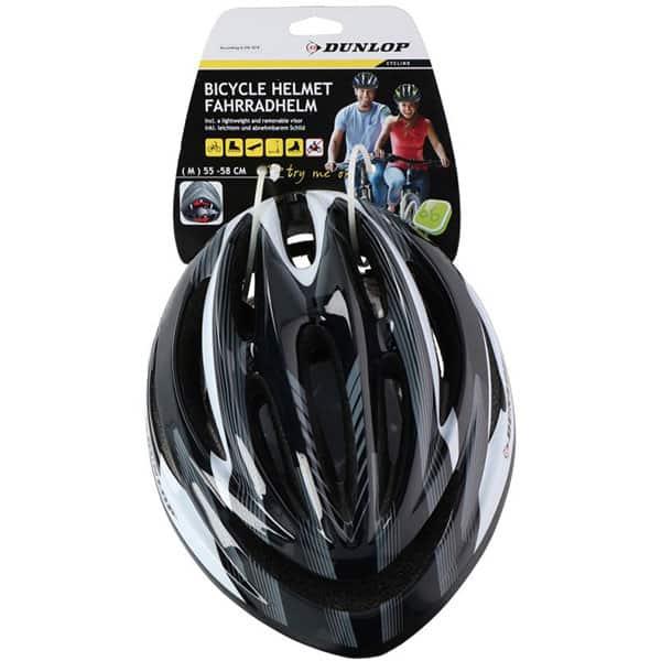 Casca bicicleta DUNLOP, 55-58cm, alb-negru