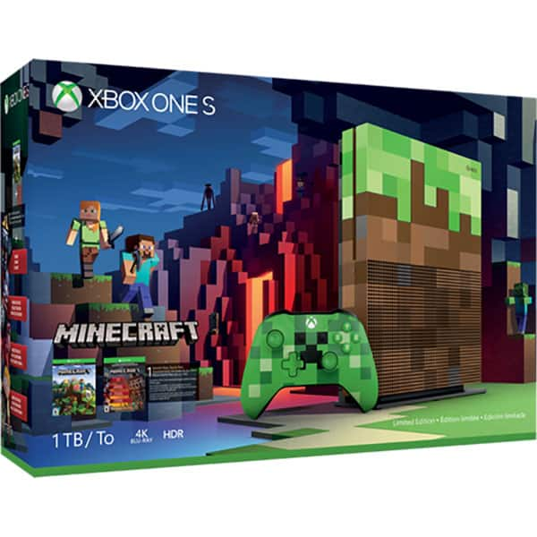 Consola MICROSOFT Xbox One S 1 TB, Custom Minecraft + joc Minecraft + DLC Redstone Pack (coduri download)