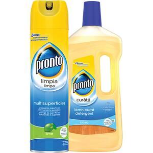 Pachet spray multisuprafete PRONTO lime, 300ml + detergent pentru parchet PRONTO Lemn curat, 750ml
