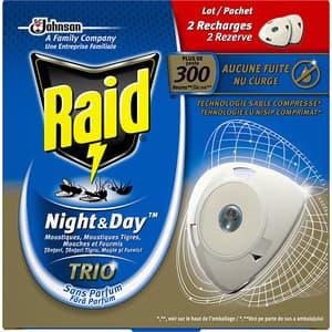 Set rezerve aparat electric anti-tantari, muste si furnici RAID Night & Day Trio