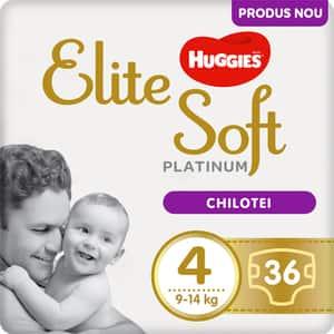 Scutece chilotel HUGGIES Elite Soft Platinum nr 4, Unisex, 9-14 kg, 36 buc