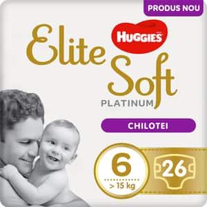 Scutece chilotel HUGGIES Elite Soft Platinum nr 6, Unisex, 15 kg+, 26 buc
