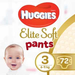 Scutece chilotei HUGGIES Elite Soft Pants nr 3, Unisex, 6-11 kg, 72 buc