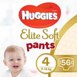 Scutece chilotei HUGGIES Elite Soft Pants nr 4, Unisex, 9-14 kg, 56 buc