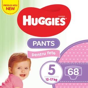 Scutece chilotei HUGGIES nr 5, Fata, 12 - 17 kg, 68 buc