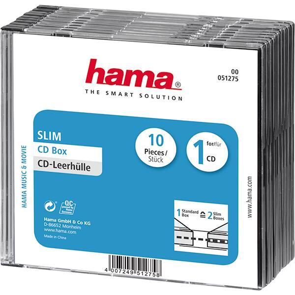 Carcasa DVD HAMA 51275, 10 bucati, transparent-negru