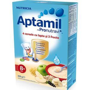 Cereale APTAMIL 4 cereale cu lapte si fructe 657548, 8 luni+, 225g