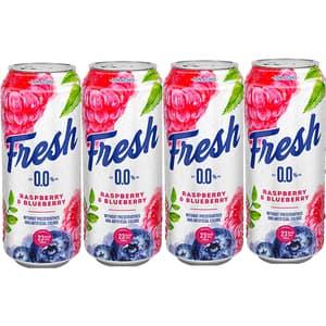 Bere cu arome fara alcool Fresh Zmeura&Afine bax 0.5L x 4 cutii