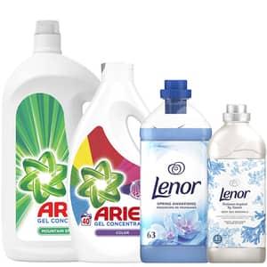 Pachet detergent lichid ARIEL Mountain Spring, 60 spalari + Color, 40 spalari + balsam de rufe LENOR Spring, 63 spalari + Deep Minerals, 45 spalari