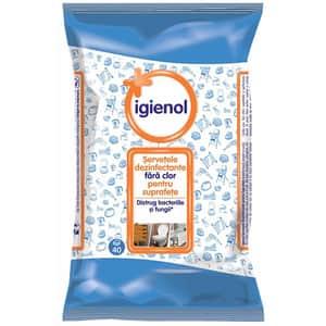 Servetele dezinfectante IGIENOL, 40 bucati