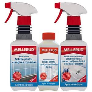 Pachet MELLERUD: Solutie de curatare rosturi, 500 ml + Solutie de curatare baie, 500 ml + Solutie de curatare cabina de dus, 250 ml