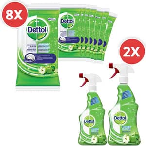 Pachet spray Dettol Trigger, mar verde, 2 x 500 ml + servetele dezinfectante, mar verde, 8 x 40 buc