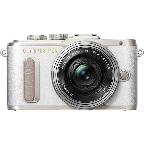 Aparat foto Mirrorless OLYMPUS E-PL8, 16.1 MP, Wi-Fi, alb + Obiectiv 14-42mm