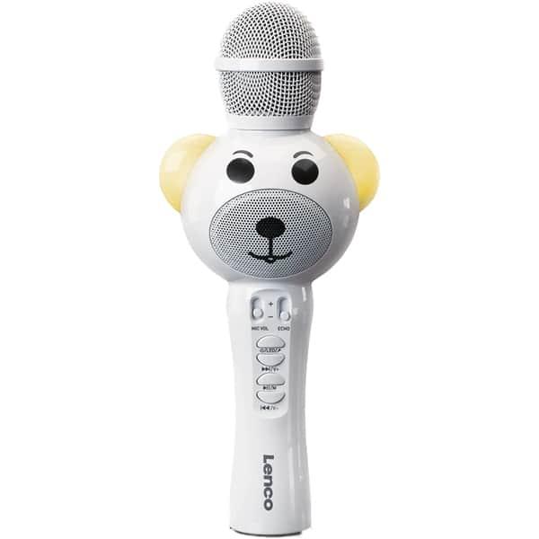 Microfon karaoke LENCO BMC-060WH, Bluetooth, USB, alb