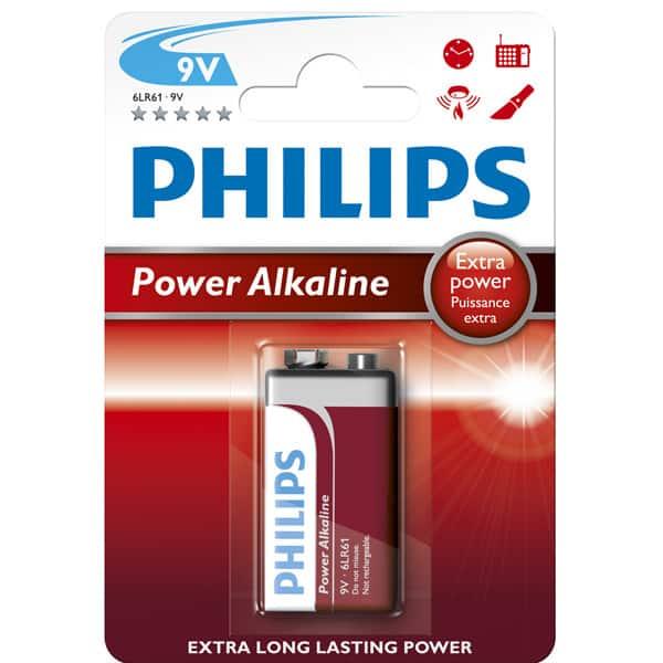 Baterie alcalina 9V PHILIPS 6LR61P1B/10